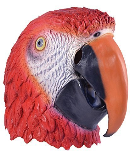 Fancy Me Erwachsene Damen Herren Rubber Das Gesicht Bedeckend Maske Animal Halloween Kostüm Kleid Outfit Zubehör - Papagei