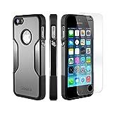 Coque iPhone 5 SE 5s, (Gris, Noir) SaharaCase® + [film protecteur ZeroDamage en verre trempé] kit de protection accompagné d'un et d'une protection de saisie antidérapante [antichocs] avec une coupe ajustée