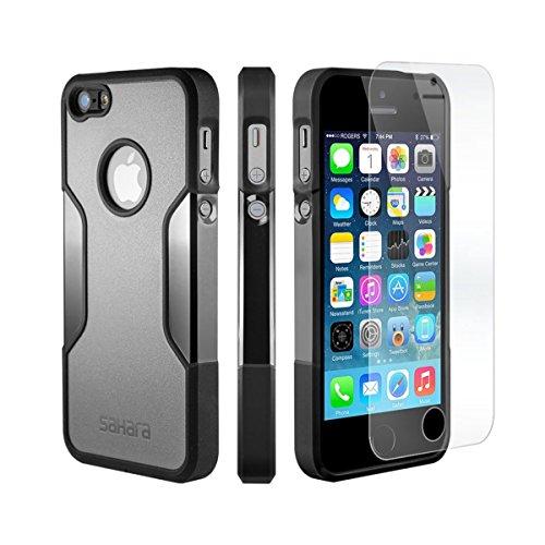 iPhone 5 5s SE Hülle, (Schwarz, Grau) SaharaCase Schutz Kit Paket mit Null Schaden [ZeroDamage gehärtetes Glas Bildschirmschutz] Robuster Schutz Anti-Rutsch-Griffigkeit [Stoß sicherer Puffer] Schlanke Passform