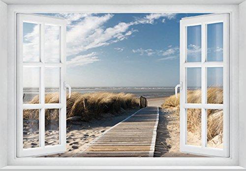 FOTOTAPETE ,,Beach Window 2T1′ 127cm x 183cm Fenster Ausblick Meer Strand Dünen Ozean ocean way Tapete inklusiv Kleister - 3