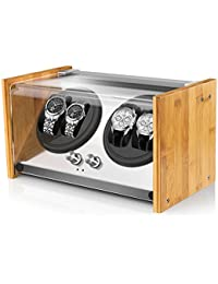 Watch Winder Smith Remontoir à Montres Automatique pour 4 montres,Rolex Couple Taille,100% Artisanat Conception de brevet en bois de bambou,Moteur japonais ultra-silencieux à AC ou à piles