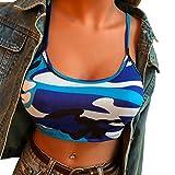 TUDUZ Damen Camouflage Armelloses Tank Top Bustier BH Weste Crop Top Bluse T-Shirt Camisole Oberteile