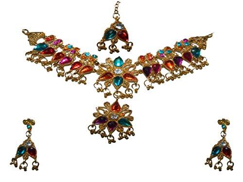 Bollywood Set Sonakshi pink türkis rot violett Bindis indisches Schmuck Set Accessoire