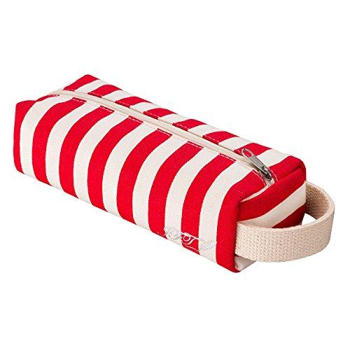 JFT rot - weißen streifen leinwand zylindrische mäppchen - premium - qualität reißverschluss bleistift beutel benutzt werden, wie ein bleistift inhaber oder reisen schminkkoffer - modernen design, abwaschbare stoff, erstaunliche geschenk