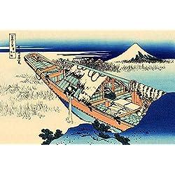 JH Lacrocon Katsushika Hokusai - Ushibori Provincia Hitachi 36 Vistas Monte Fuji Reproducción Cuadro sobre Lienzo Enrollado 90X60 cm - Pinturas Paisaje Impresións Ukiyo-e Decoración Muro