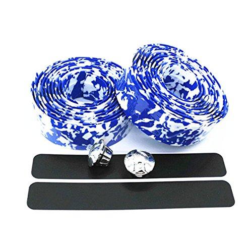 ECYC® Colorful Fahrradgriff Gürtel Fahrrad Lenkerband Wrap +2 Bar, Blau & Weiß