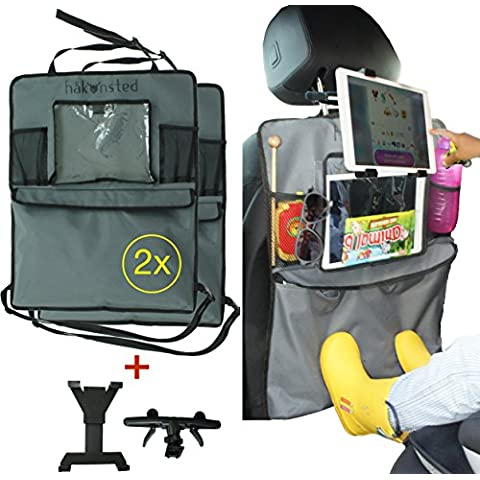 Kick Mats con soporte para Tablet Protector De Asiento Trasero, Kick Mat Organizador, Una cubierta de asiento trasero–Organizador de asiento de coche protector de pantalla y soporte para Tablet separados, hakonsted Kick Mats (2unidades)