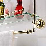 Xiang Europäische goldene Badezimmer-Standkosmetik goldene Bank schnitzte Glas überzogene goldene Kupfer 2-Schichtbadprodukte