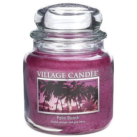 Village Candle Palm Beach Glass Jar, Dark Pink, Medium