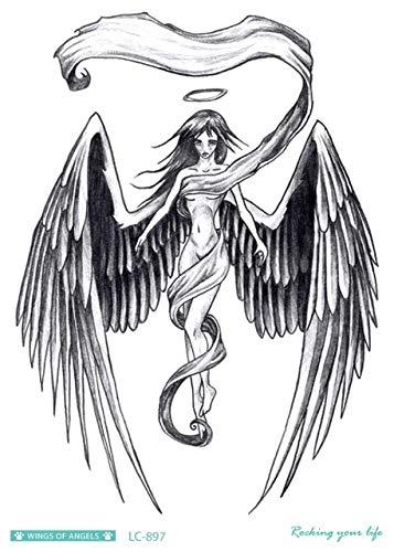 Hxman schizzo angelo falso tatuaggio croce ali grandi taty uomini tatuaggio temporaneo adesivo per corpo arte tatouage temporaire femminile(2 pack) lc-897 (in titola il più alto salto