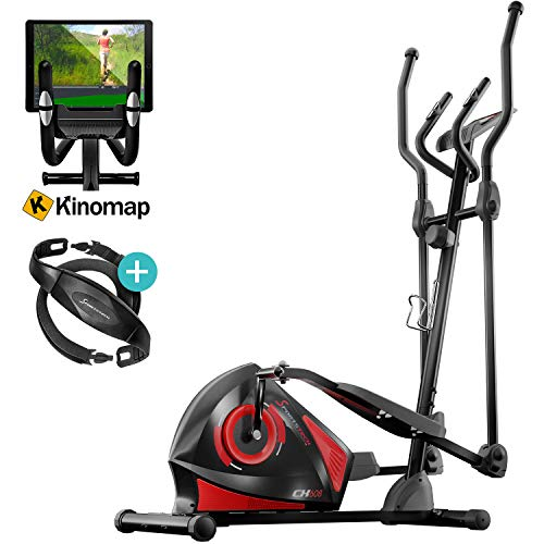 Sportstech CX608 Elliptical Cross Trainer with Smartphone App & Bluetooth Interface, Exercise Bike, Tablet Holder, Pulse Belt Compatible - Ergometer, 12 kg Flywheel, 3-Way Crank System - with Kinomap