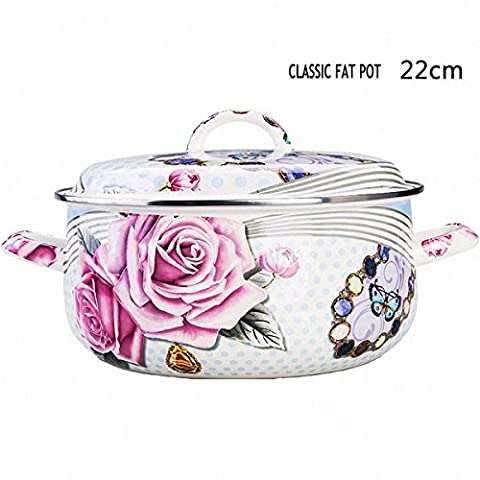 XiangYan Double handle thick enamel fat stew pot for gas stove and induction cooker,Classic fat (Gas Naturale Frigoriferi)