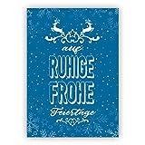 Grußkarten Set zum Fest (10Stk) Schöne blaue Retro Weihnachtskarte mit Spruch und Hirschen: auf ruhige frohe Feiertage
