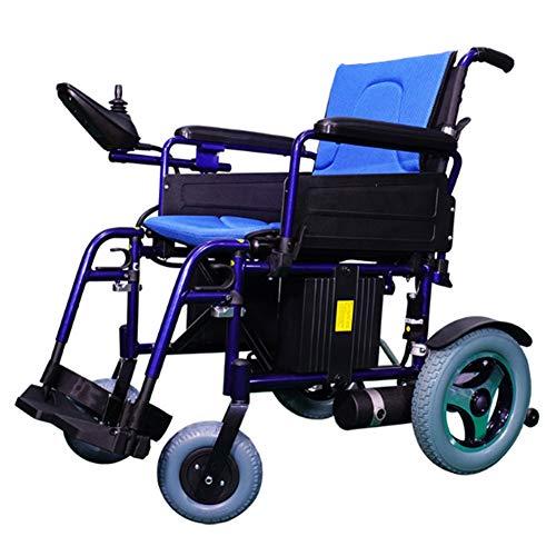 LFF WHEELCHAIR Rollstuhl Electric, Dual-Function Heavy-Duty, Aluminium-Legierung Folding Adult Electric, mit Power oder manuellem Rollstuhl, für behinderte Menschen/alt Leute (blau) -