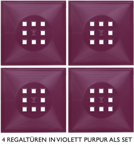 4er Set Designer Tür als Geschenkidee, Advent Deko-Einsatz für Ikea Expedit-Kallax Regal* Violett-Purpur (rötlich)