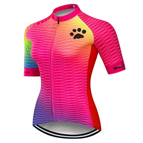 Weimostar Radtrikot Damen-Mountainbike-Jersey-Zip-Shirts Kurzarm Rennrad-Oberteile Pro-Team-Rennsport-MTB-Oberteile für Damen Damen Sommer Blau Rosa Größe M -
