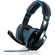 CSL - 7.1 USB Cascos para juegos con tarjeta de sonido | Edición Gaming Plus (USB) | Almohadillas para los oídos de cuero sintético / inserto de malla | Regulador de volumen | Negro/Azul