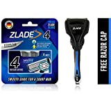 Zlade 4 Blade Shaving Razor For Men With SafeEdge Technology - Titanium and Diamond Coated Blades Made in Germany - 1 Razor Handle + Pack of 4 Cartridges + 1 Free Razor Cap