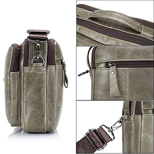 ELASZ Bullcaptain Vintage Shoulder Bag for Men Real Leather Casual Briefcase Messenger Bag (Brown-036) grigio-036