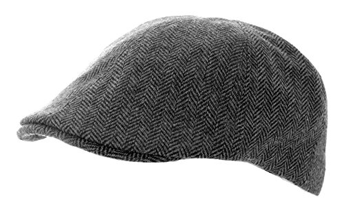 Heritage Traditions Grey Herringbone Tweed Panel Cap Hat Herringbone Tweed Cap
