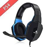 EasySMX Kabelgebundenes Gaming Headset für PS4 kompatibel mit PC Tablets mit geschlossenen Over Ear Kopfhörer, abnehmbares Mikrofon und Volume Kontrolle (Blau)