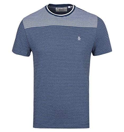 penguin-crew-neck-broken-stripe-t-shirt-small-blue