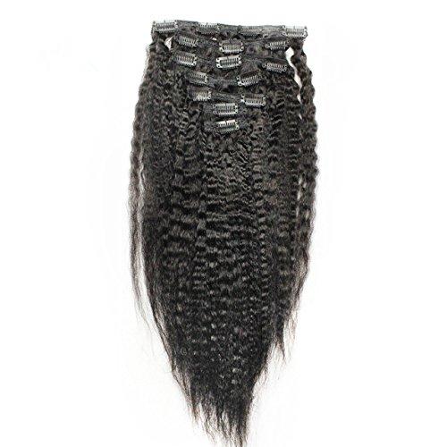 Afro Kinky gerade Klipp in den Haar-Verlängerungen 100% Jungfrau-brasilianischer Menschenhaareinschlagfaden für schwarze Frauen, unverarbeitete 6A Grad 7 Stücke / Satz natürliche Farbe