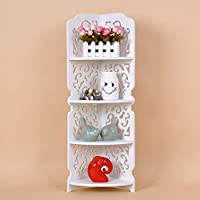 """Just Shabby Chick """", intagliato in piedi, Mensola ad angolo, 4 livelli con mensole/libreria, colore: bianco"""