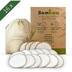 Lingette Démaquillante Lavable | 16 disques démaquillants bambou | Coton Demaquillant Lavable | Tous types de peau | Disque démaquillant lavable bio | Pads Démaquillant Réutilisable | Bambaw