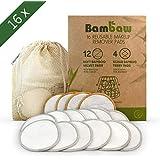 Discos Desmaquillantes   16 Discos Desmaquillantes Reutilizables   Con Bolsa de Lavado   Hechos en Fibra de Bambú   Desmaquillante Facial   Lavables   Aptos Para Todo Tipo de Pieles   Bambaw