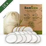 Discos Desmaquillantes | 16 Discos Desmaquillantes Reutilizables | Con Bolsa de Lavado | Hechos en Fibra de Bambú | Desmaquillante Facial | Lavables | Aptos Para Todo Tipo de Pieles | Bambaw