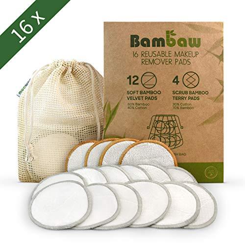 Waschbare Abschminkpads| 16 Abschminktücher aus Bambus & Baumwolle mit Wäschebeutel | Umweltfreundlich | Wattepads wiederverwendbar | Gesichtsreinigung | Zero Waste | Bambaw (Bio-beauty-produkte)