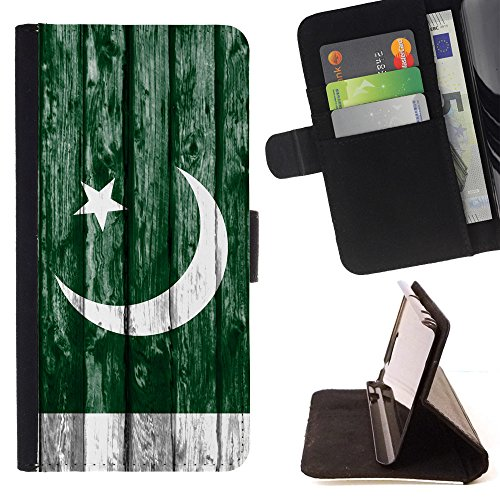 FJCases Pakistan Pakistani Holzmuster Flagge Tasche Brieftasche Hülle Schale Standfunktion Schutzhülle für Apple iPhone 7 / iPhone 8