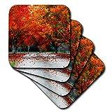 3drose CST 255614_ 1Herbst Saison bunt Bäume und Blätter Soft Untersetzer (4Stück), rot