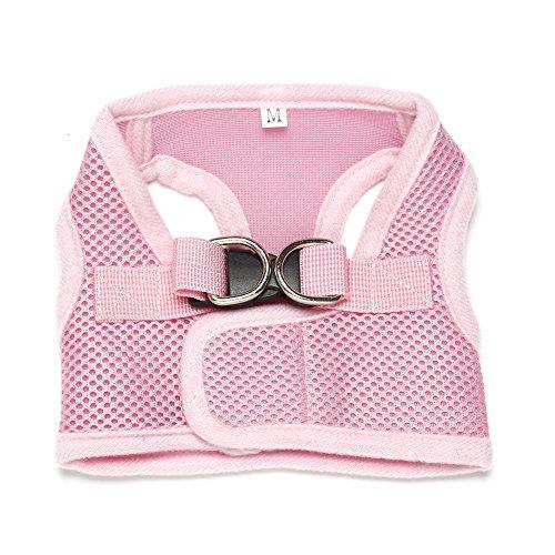 Forepin® Guinzaglio Leggero Vest Dog Harness traspirante Pet Harness tessuto di maglia di addestramento del cane del cucciolo del cablaggio della maglia per i cani (rosa, L)