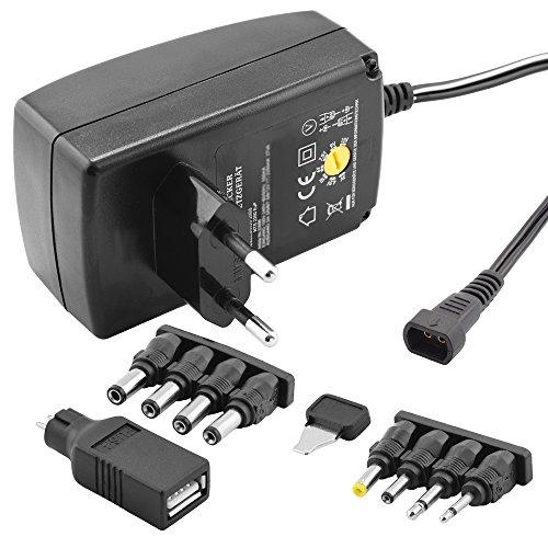 Stabilisiertes Universal Netzteil Ladegerät mit verschiedenen Adaptern für Geräte bis zu 600mA / Eingang 230V / Ausgang 3 4,5 6 7,5 9 12 V DC / Schwarz - 5 Volt-dc-adapter