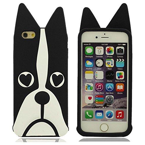 """Coque Pour Apple iPhone 7 4.7"""", iPhone 7 Case, Doux Fine Silicone Gel 3D Animal Yeux de l'amour-Heart Forme Dessin animé Style Chien Apparence Original Conception Color-1"""