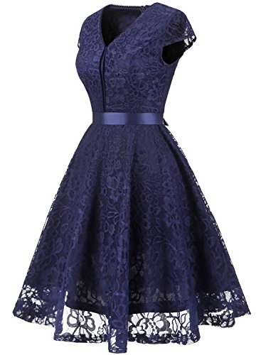 MuaDress 6004 Brautjungfernkleid aus Spitzen Kurz Damen Kleid Mit Knöpfe Cap Marineblau L (Ein Kurze Ärmel Knopf)