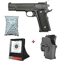 Galaxy Pack Cadeau Airsoft Pistolet M945 Full Métal Noir 0.5 Joule avec Holster 6mm à Ressort 600 Billes Offert Et Une Cible Filet - G20