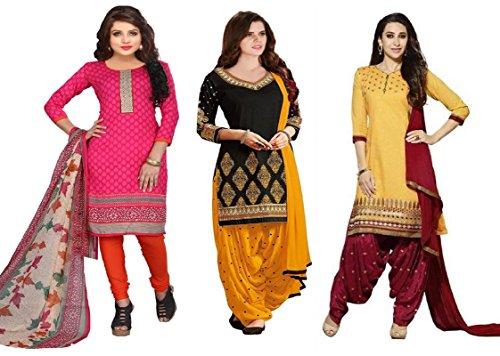 White World Women\'S Faux Cotton Dress Material Salwar Suit Set (B!!--N3-5_Pink|Black|Yellow_Free Size)