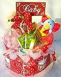 Windeltorte - mit Pflegeprodukte, Tee, Kuschelteddy, Greifring und Trinkflasche, Tolles Geschenk zur Geburt