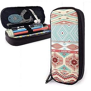 Cultura étnica Estuche de lápices de cuero de PU lindo 20X9X4cm Bolsas con cremallera doble Bolsa de lápices para oficina escolar Niñas Niños Adultos