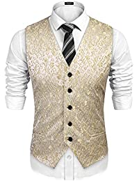 JINIDU Mens Floral V Neck Jacket Dress Suit Vest Slim Fit Tuxedo Waistcoat for Party, Dinner, Prom, Wedding,…