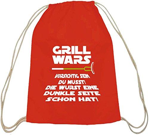 Grill natur Turnbeutel von Shirtstreet24 mit Dunkle Seite Grill Wars Aufdruck Rot Natur