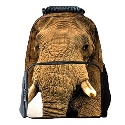 Ohmais 3D Tier Rücksack Rucksäcke Backpack Daypack Schulranzen Schulrucksack Wanderrucksack Schultasche Rucksack für Schülerin Elefant