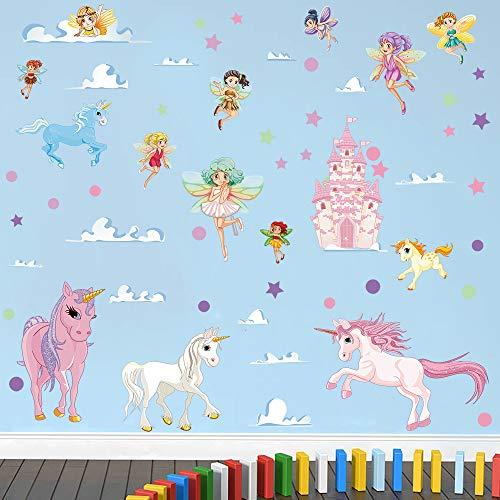 decalmile Pegatinas de Pared Unicornio Colorido Vinilos Decorativos Niña Hada Castillo Adhesivos Pared Habitación Niña Bebés Niños Guardería Dormitorio Salón