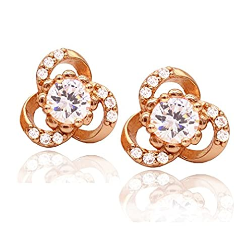 Juvel-Jewelry 24K Gold plating High Quality Beautiful Crystal Shiny Ear Stud Earrings for Women Girls