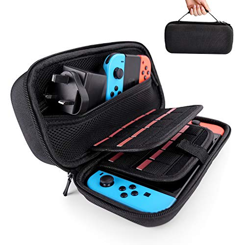 Hestia Goods Nintendo Switch Hülle - passend für Wandladegerät AC Adapter - mit 20 Spielkartuschen Hartschale für Nintendo Switch Konsole & Zubehör, Schwarz (Tragekoffer Spiel-konsole,)