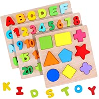Wooden Alphabet Puzzles Numbers Count Board Blocks 3 Sets Game, Colorful ABC Uppercase Letters/ Numbers/ Shapes for Kids Toddlers Preschool Early Learning Educational Toys