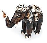 Deko Figur Elefant Bumbo stehend aus Albesia Holz braun, Höhe 20 cm groß, Holzfigur Krafttier im Afrika Stil Kunsthandwerk aus Bali handgefertigt, Größe:20 cm